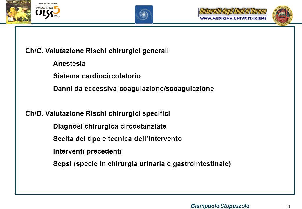 Ch/C. Valutazione Rischi chirurgici generali Anestesia