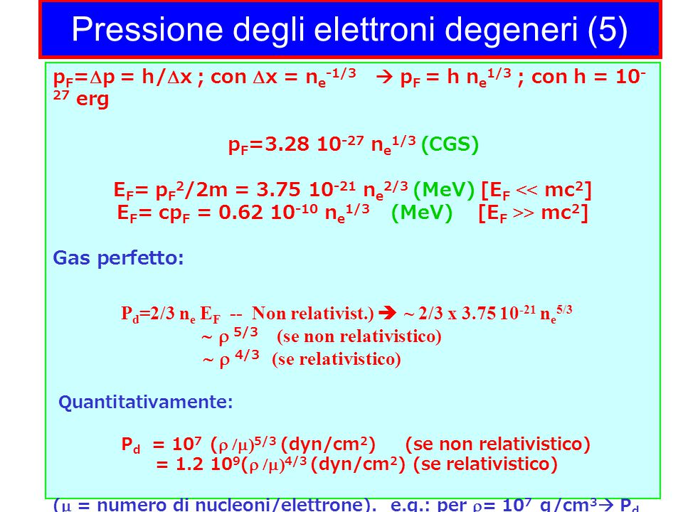 Pressione degli elettroni degeneri (5)
