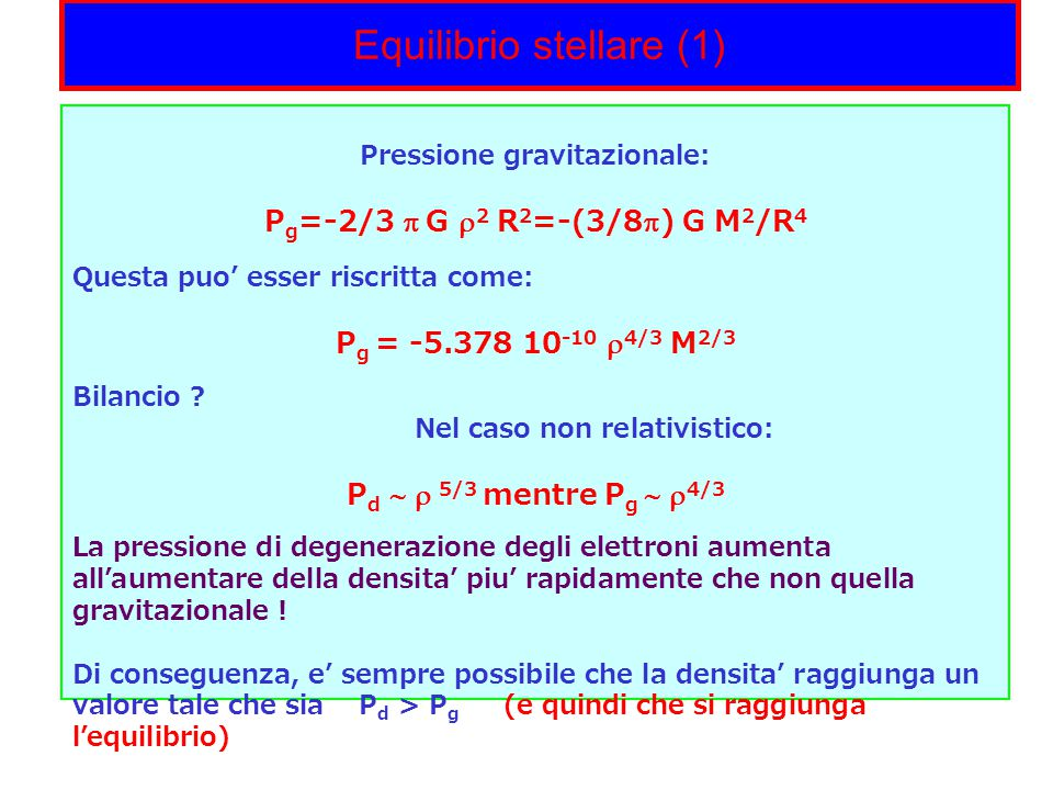 Equilibrio stellare (1)