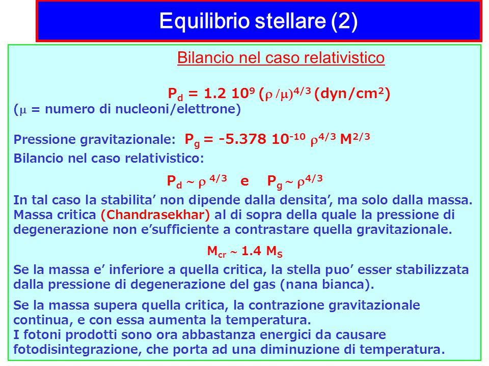Equilibrio stellare (2)