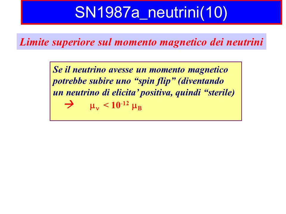SN1987a_neutrini(10) Limite superiore sul momento magnetico dei neutrini. Se il neutrino avesse un momento magnetico.