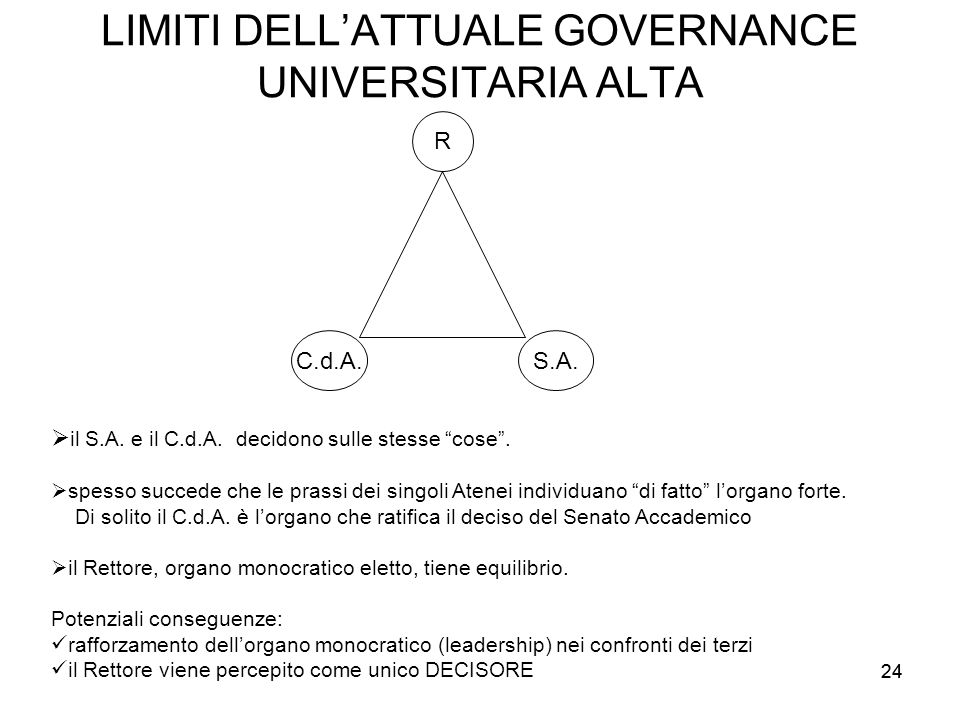 LIMITI DELL'ATTUALE GOVERNANCE UNIVERSITARIA ALTA