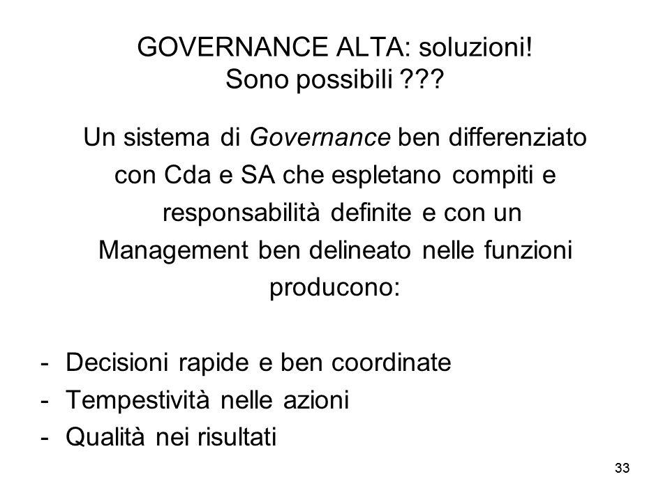 GOVERNANCE ALTA: soluzioni! Sono possibili