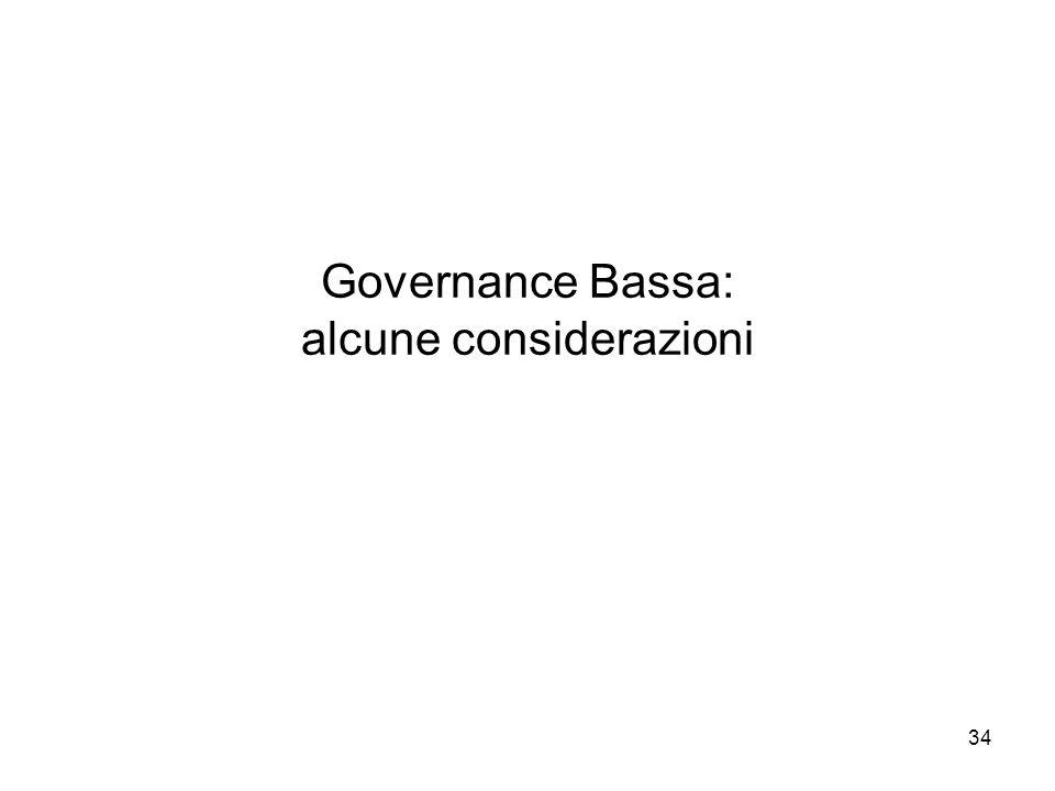 Governance Bassa: alcune considerazioni