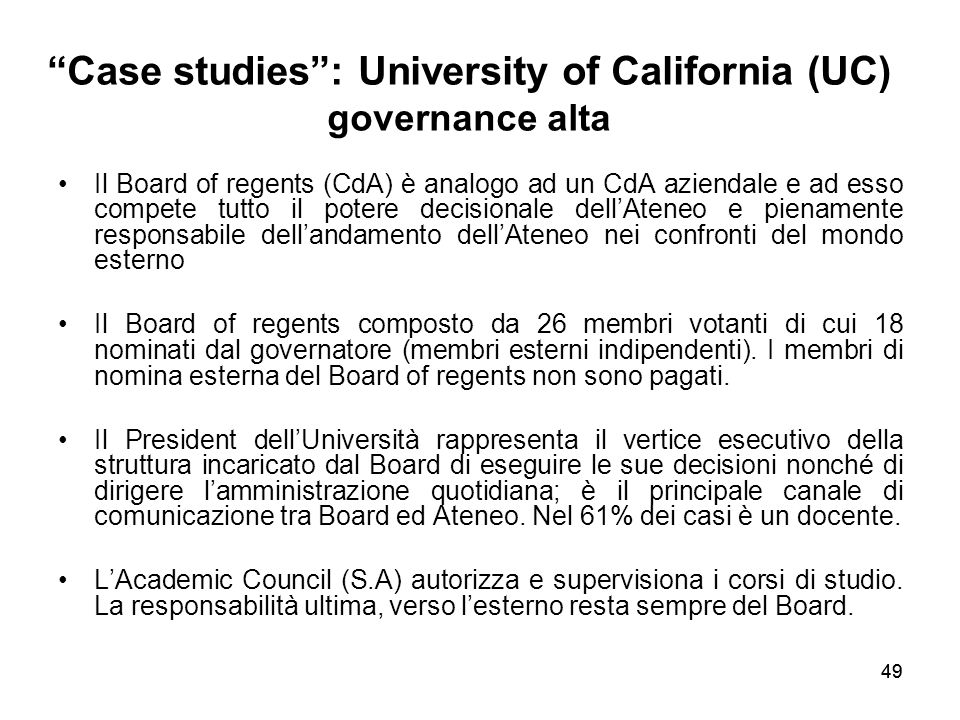 Case studies : University of California (UC) governance alta