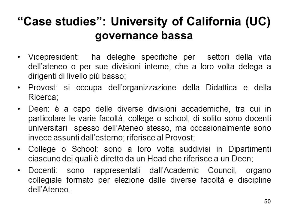 Case studies : University of California (UC) governance bassa
