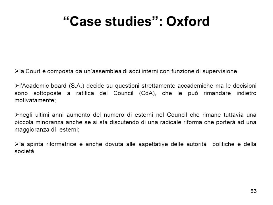 Case studies : Oxford