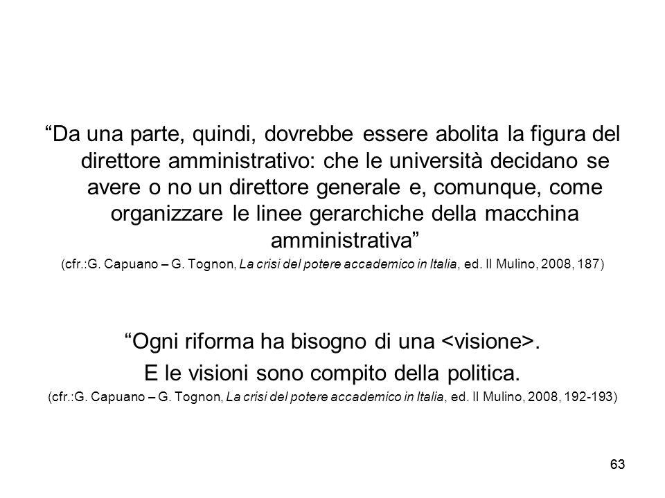 Ogni riforma ha bisogno di una <visione>.