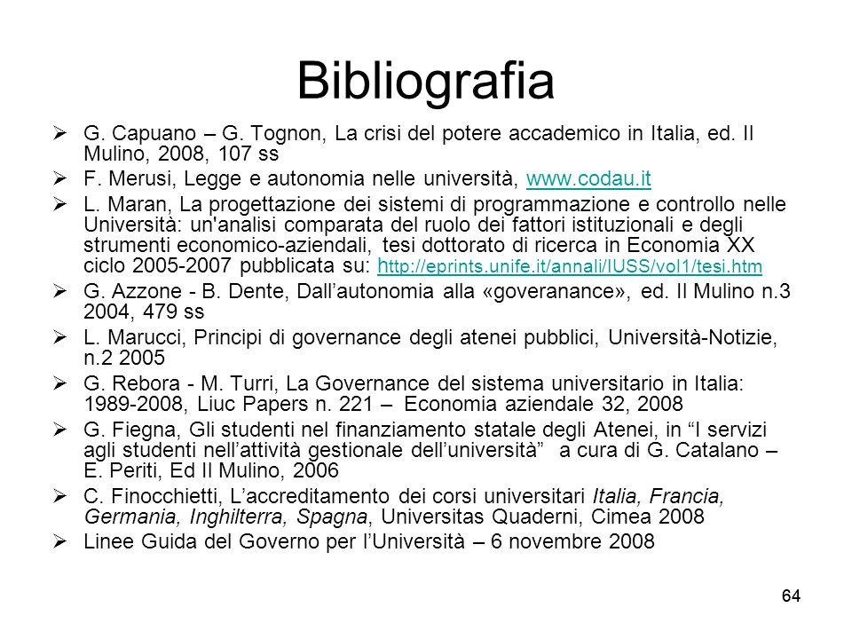 Bibliografia G. Capuano – G. Tognon, La crisi del potere accademico in Italia, ed. Il Mulino, 2008, 107 ss.