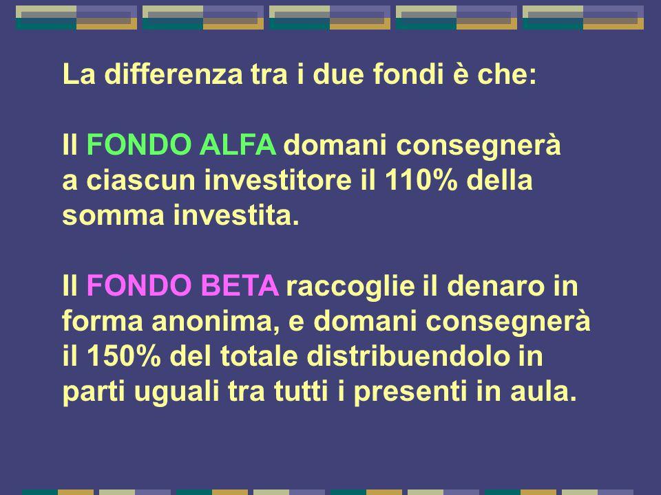 La differenza tra i due fondi è che: Il FONDO ALFA domani consegnerà