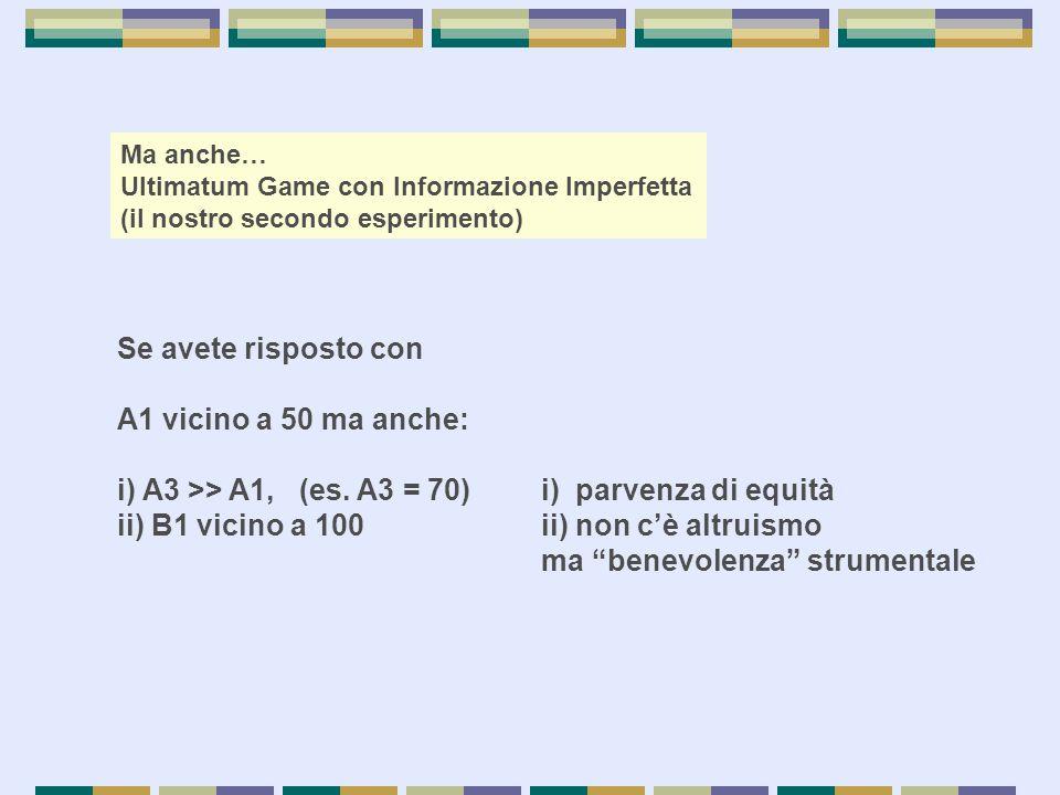 i) A3 >> A1, (es. A3 = 70) i) parvenza di equità