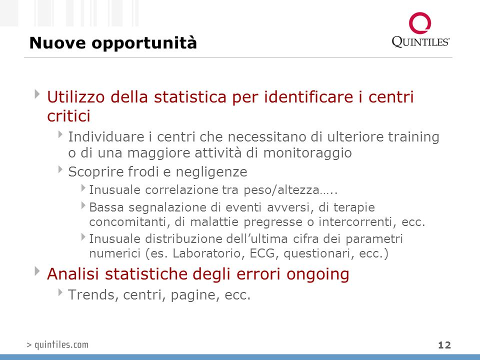 Utilizzo della statistica per identificare i centri critici