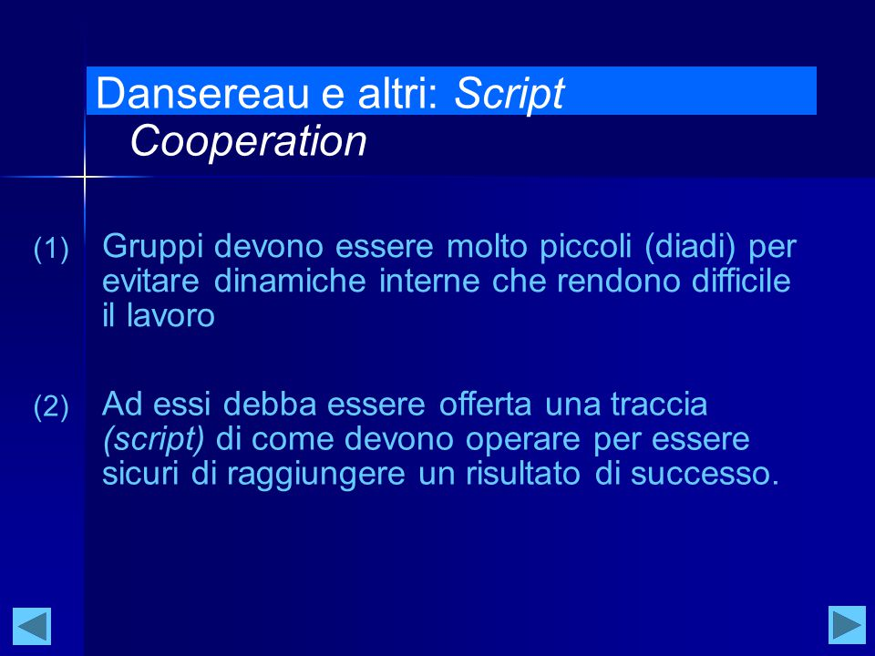 Dansereau e altri: Script Cooperation