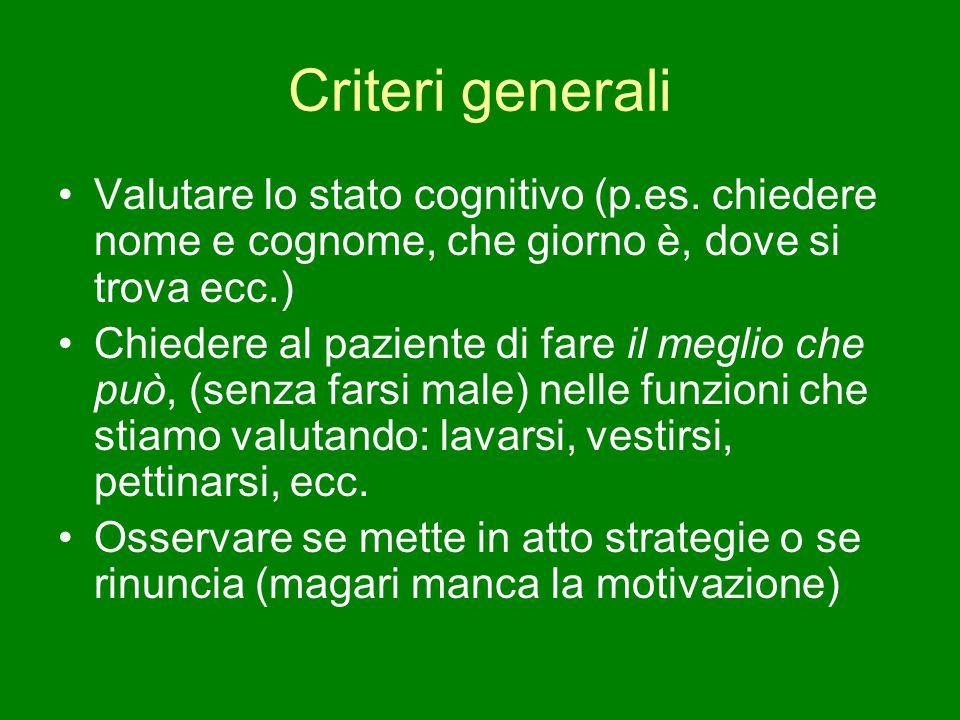 Criteri generali Valutare lo stato cognitivo (p.es. chiedere nome e cognome, che giorno è, dove si trova ecc.)