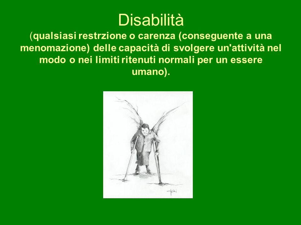 Disabilità (qualsiasi restrzione o carenza (conseguente a una menomazione) delle capacità di svolgere un attività nel modo o nei limiti ritenuti normali per un essere umano).