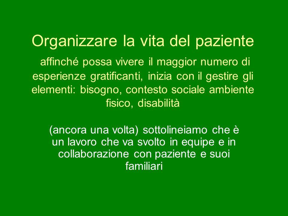 Organizzare la vita del paziente affinché possa vivere il maggior numero di esperienze gratificanti, inizia con il gestire gli elementi: bisogno, contesto sociale ambiente fisico, disabilità