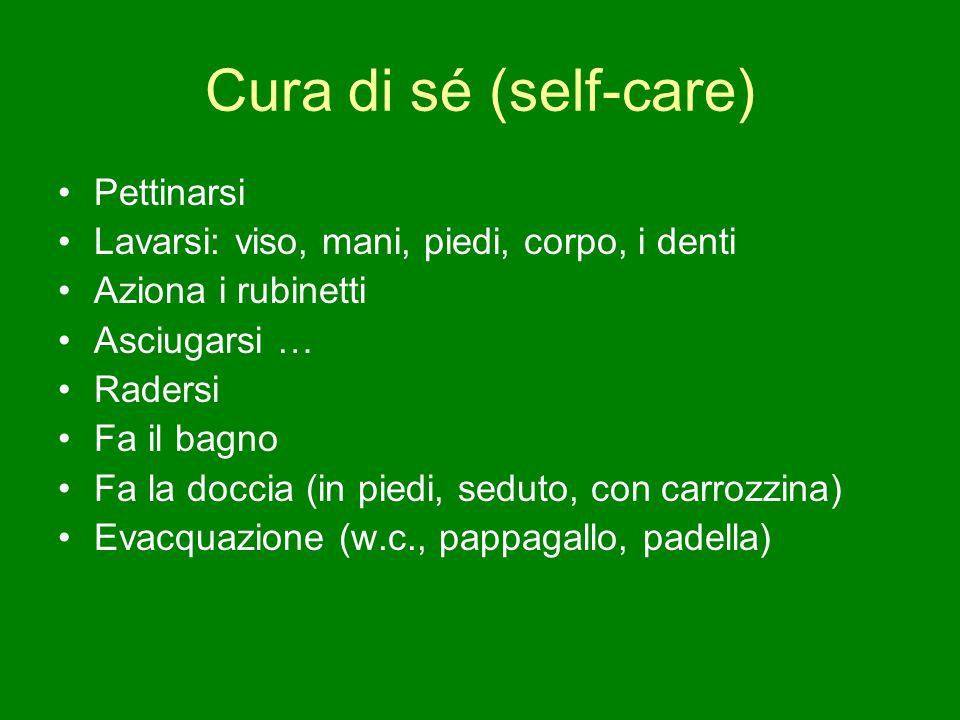 Cura di sé (self-care) Pettinarsi
