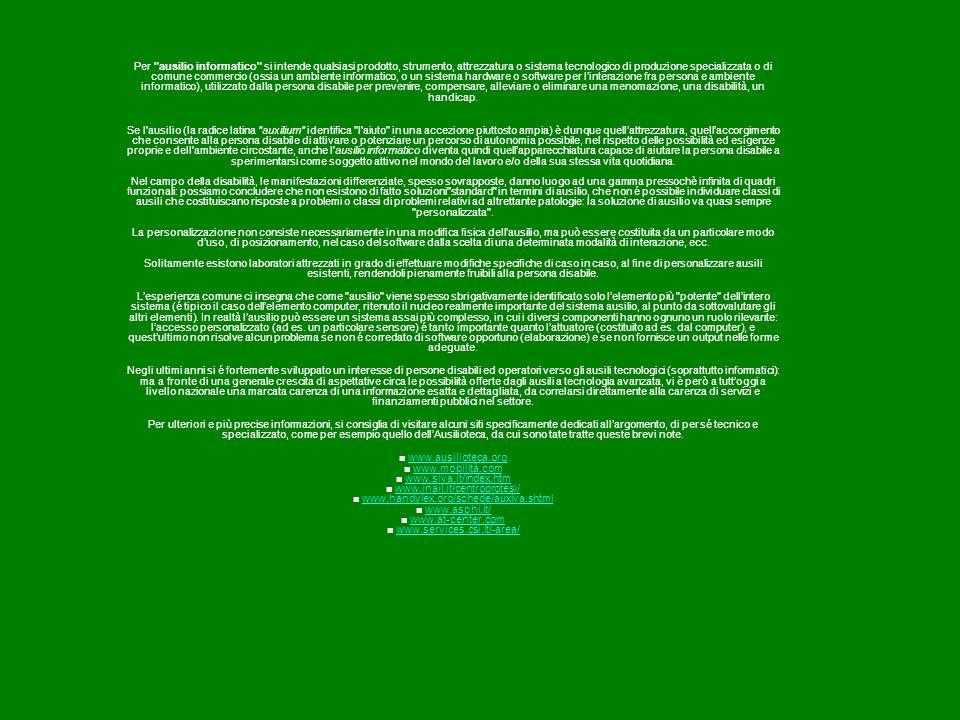 Per ausilio informatico si intende qualsiasi prodotto, strumento, attrezzatura o sistema tecnologico di produzione specializzata o di comune commercio (ossia un ambiente informatico, o un sistema hardware o software per l'interazione fra persona e ambiente informatico), utilizzato dalla persona disabile per prevenire, compensare, alleviare o eliminare una menomazione, una disabilità, un handicap.