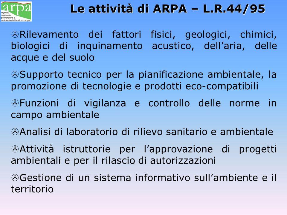 Le attività di ARPA – L.R.44/95
