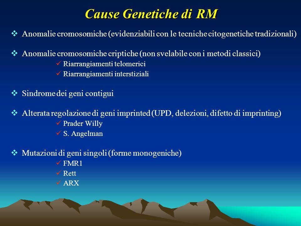 Cause Genetiche di RM Anomalie cromosomiche (evidenziabili con le tecniche citogenetiche tradizionali)