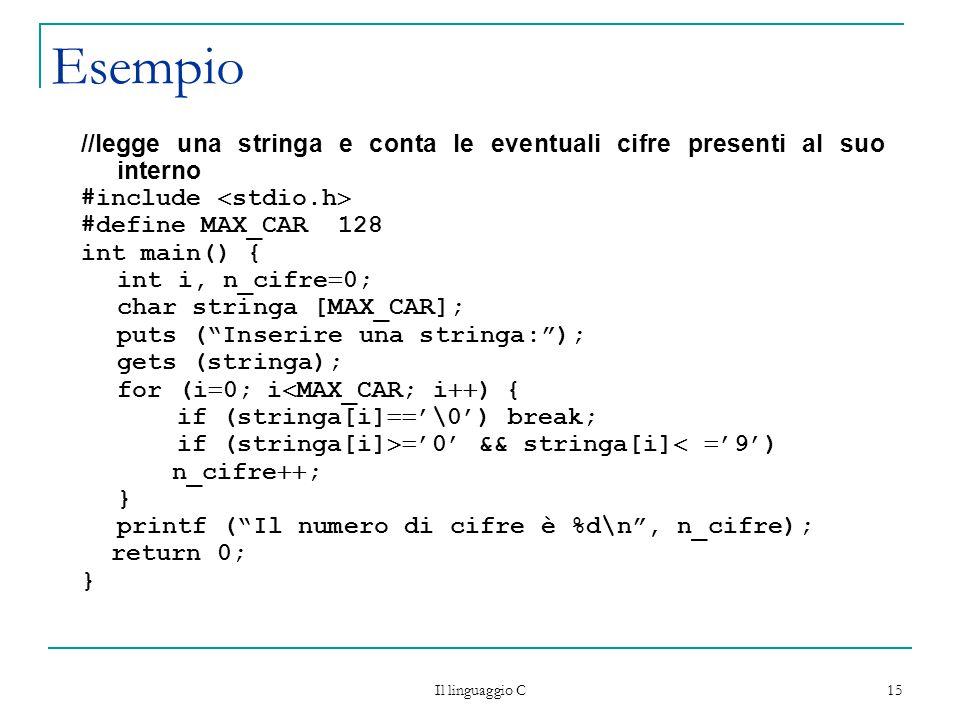 Esempio //legge una stringa e conta le eventuali cifre presenti al suo interno. #include stdio.h