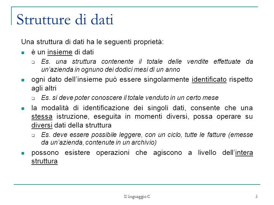 Strutture di dati Una struttura di dati ha le seguenti proprietà: