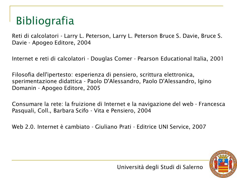 Bibliografia Reti di calcolatori - Larry L. Peterson, Larry L. Peterson Bruce S. Davie, Bruce S. Davie - Apogeo Editore, 2004.