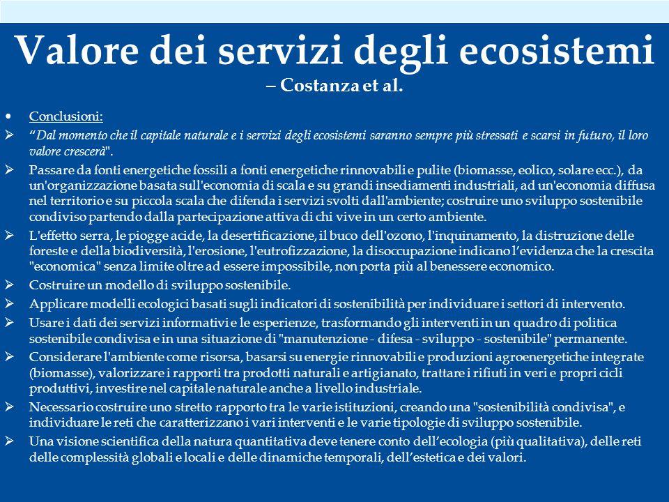Valore dei servizi degli ecosistemi – Costanza et al.