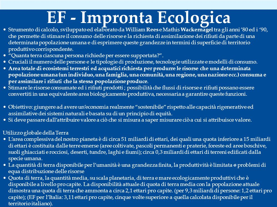 EF - Impronta Ecologica