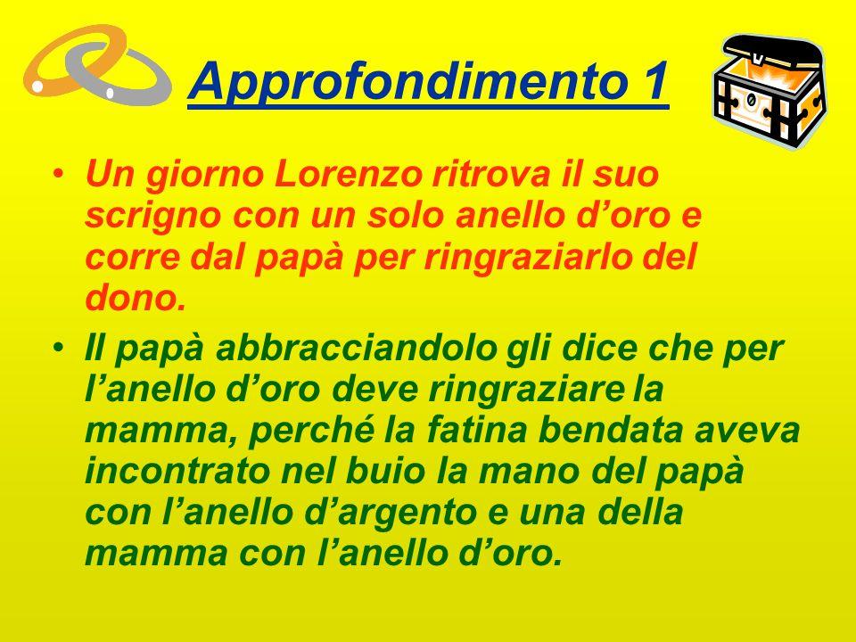 Approfondimento 1 Un giorno Lorenzo ritrova il suo scrigno con un solo anello d'oro e corre dal papà per ringraziarlo del dono.