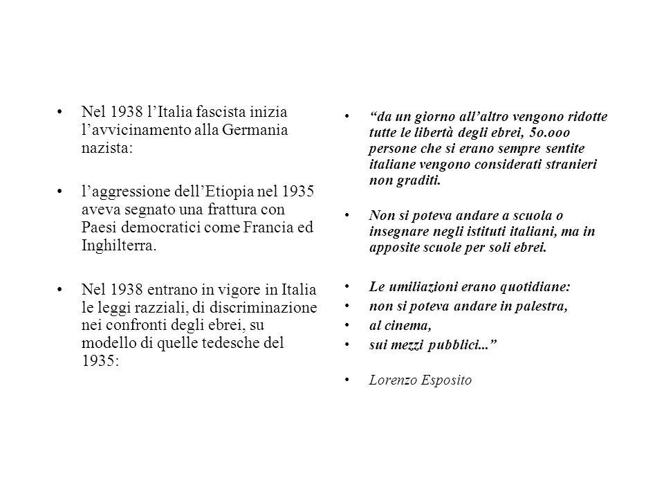 Nel 1938 l'Italia fascista inizia l'avvicinamento alla Germania nazista: