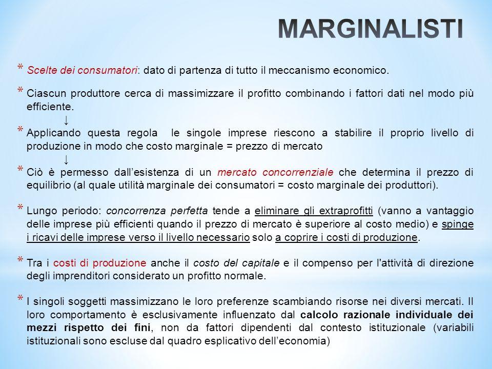 MARGINALISTI Scelte dei consumatori: dato di partenza di tutto il meccanismo economico.