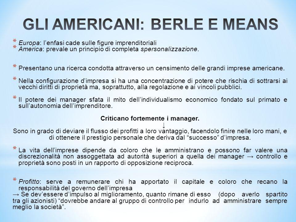 GLI AMERICANI: BERLE E MEANS
