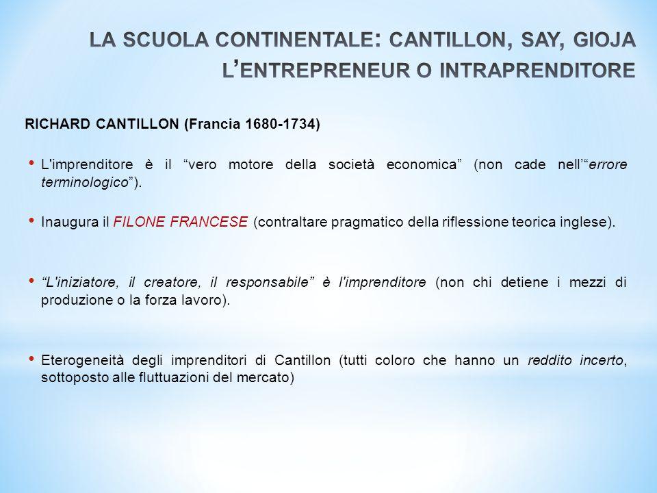 la scuola continentale: cantillon, say, gioja l'entrepreneur o intraprenditore