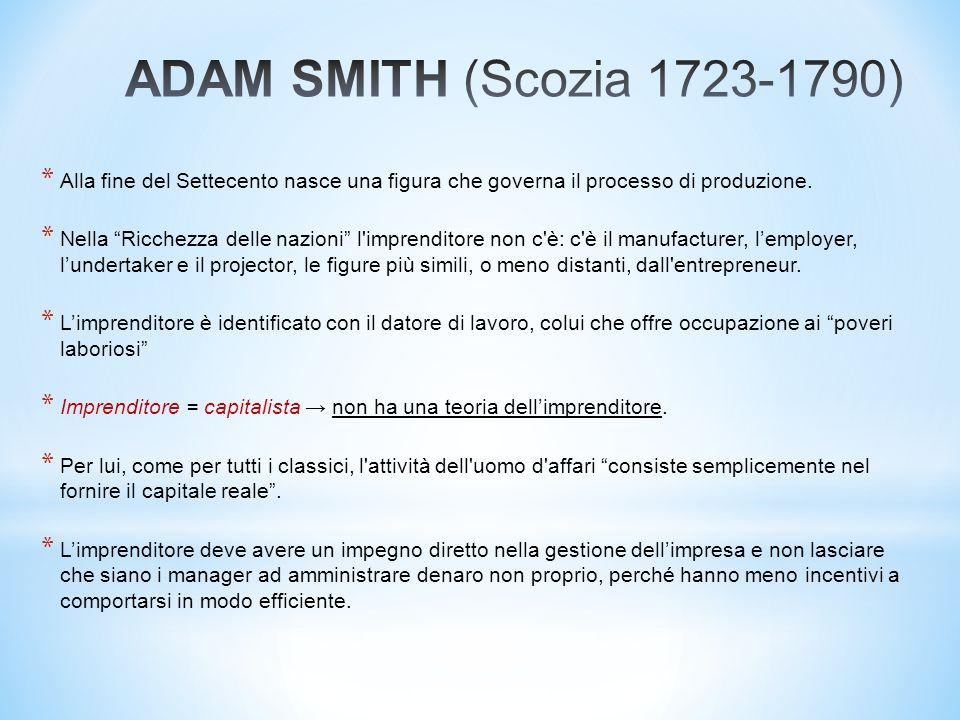 ADAM SMITH (Scozia 1723-1790) Alla fine del Settecento nasce una figura che governa il processo di produzione.