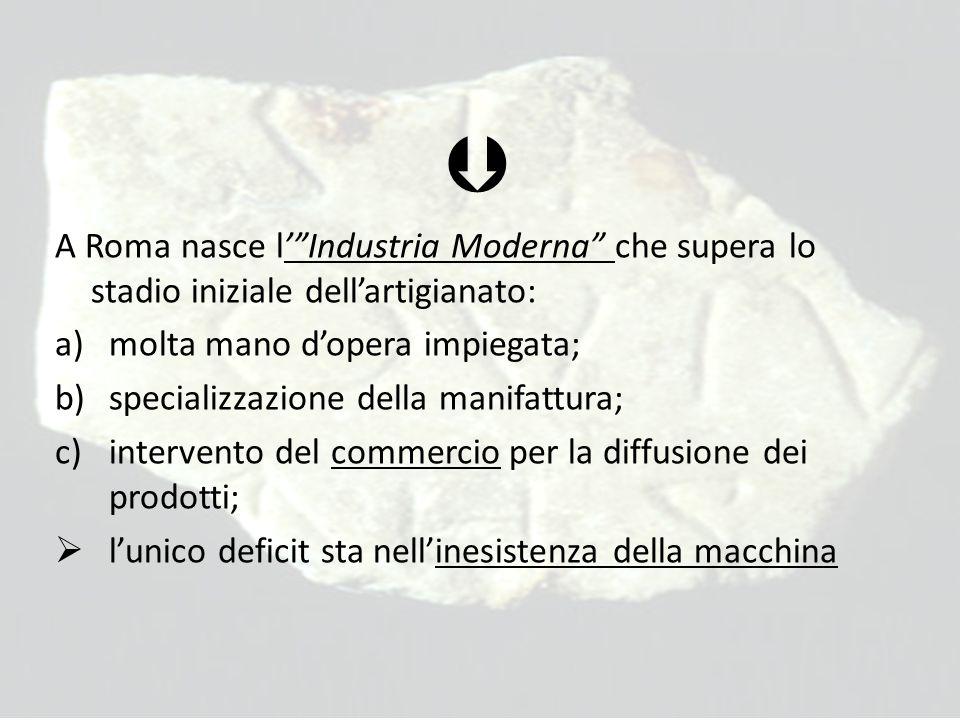  A Roma nasce l' Industria Moderna che supera lo stadio iniziale dell'artigianato: molta mano d'opera impiegata;