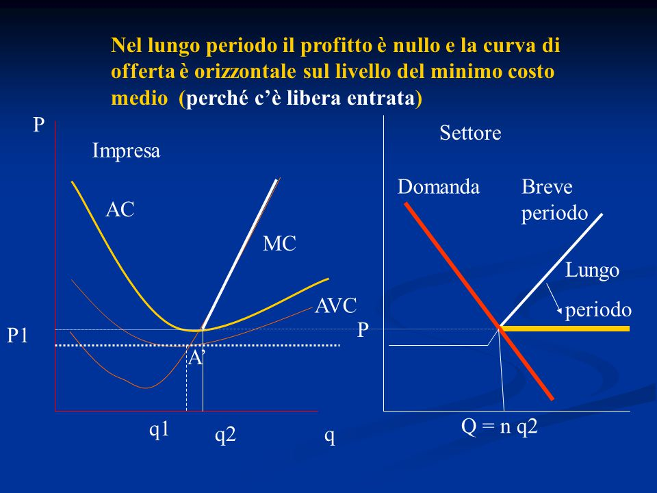 Nel lungo periodo il profitto è nullo e la curva di offerta è orizzontale sul livello del minimo costo medio (perché c'è libera entrata)