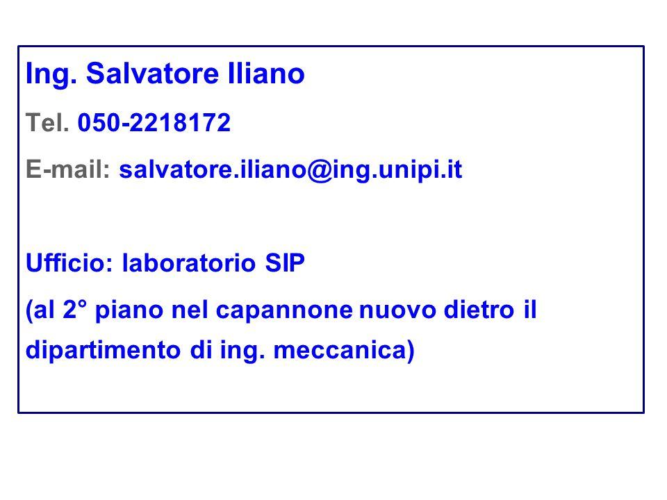 Ing. Salvatore Iliano Tel. 050-2218172