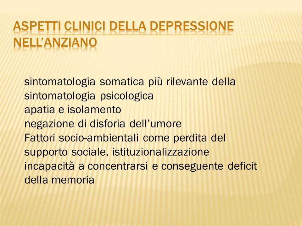 Aspetti clinici della depressione nell'anziano