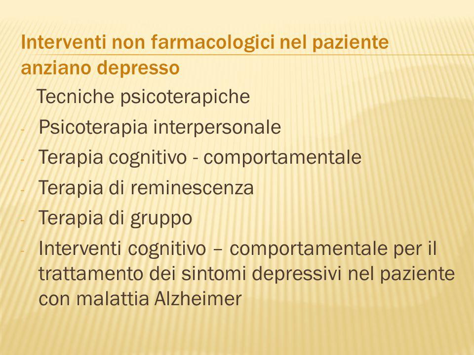 Interventi non farmacologici nel paziente anziano depresso