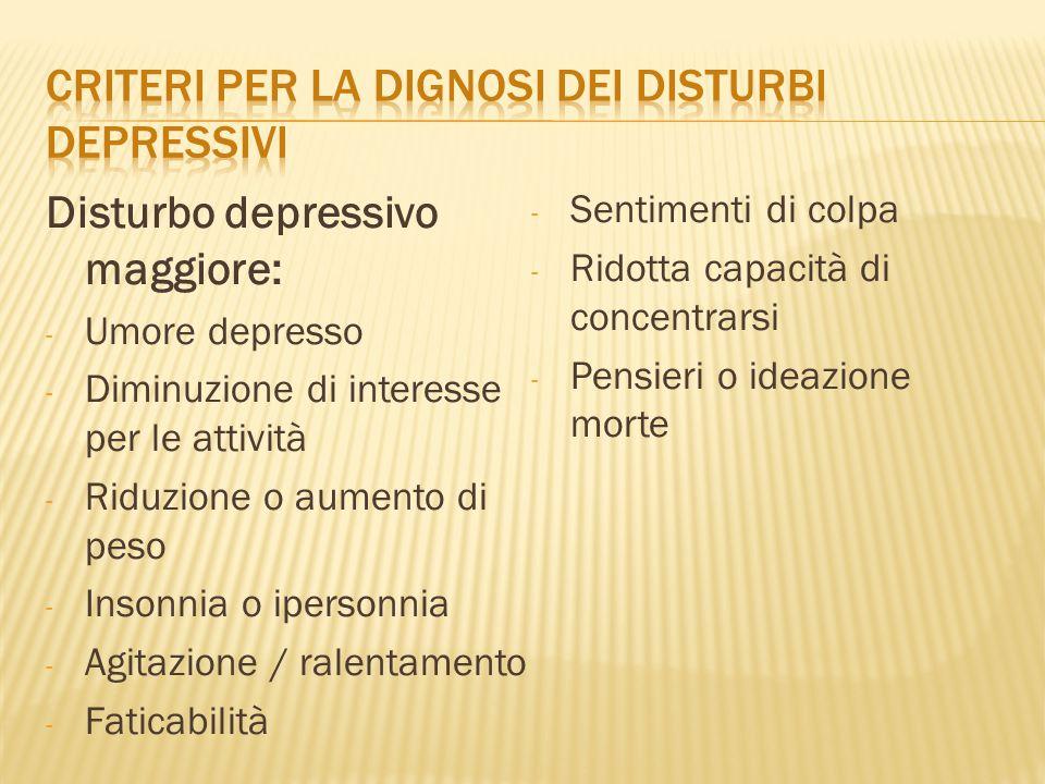 CRITERI PER LA DIGNOSI DEI DISTURBI DEPRESSIVI