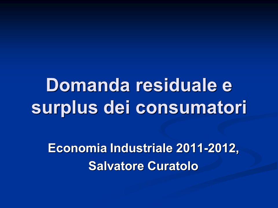 Domanda residuale e surplus dei consumatori