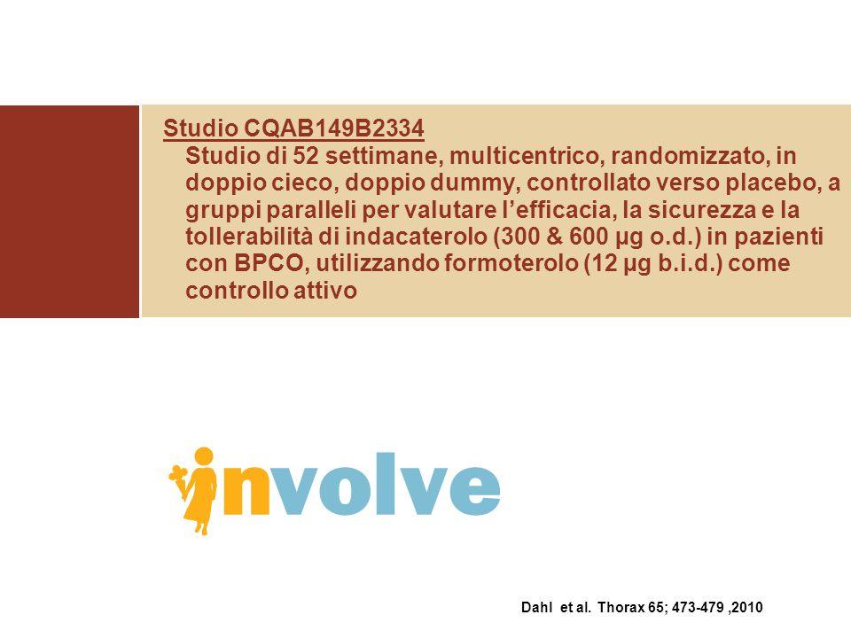 Studio CQAB149B2334 Studio di 52 settimane, multicentrico, randomizzato, in doppio cieco, doppio dummy, controllato verso placebo, a gruppi paralleli per valutare l'efficacia, la sicurezza e la tollerabilità di indacaterolo (300 & 600 µg o.d.) in pazienti con BPCO, utilizzando formoterolo (12 µg b.i.d.) come controllo attivo