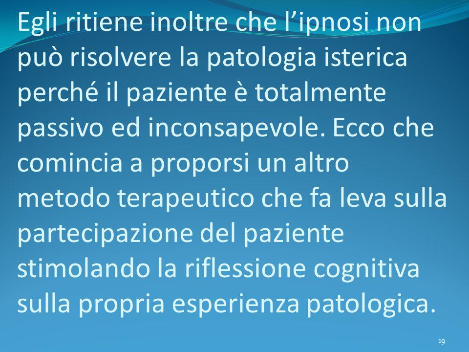 Egli ritiene inoltre che l'ipnosi non può risolvere la patologia isterica perché il paziente è totalmente passivo ed inconsapevole.