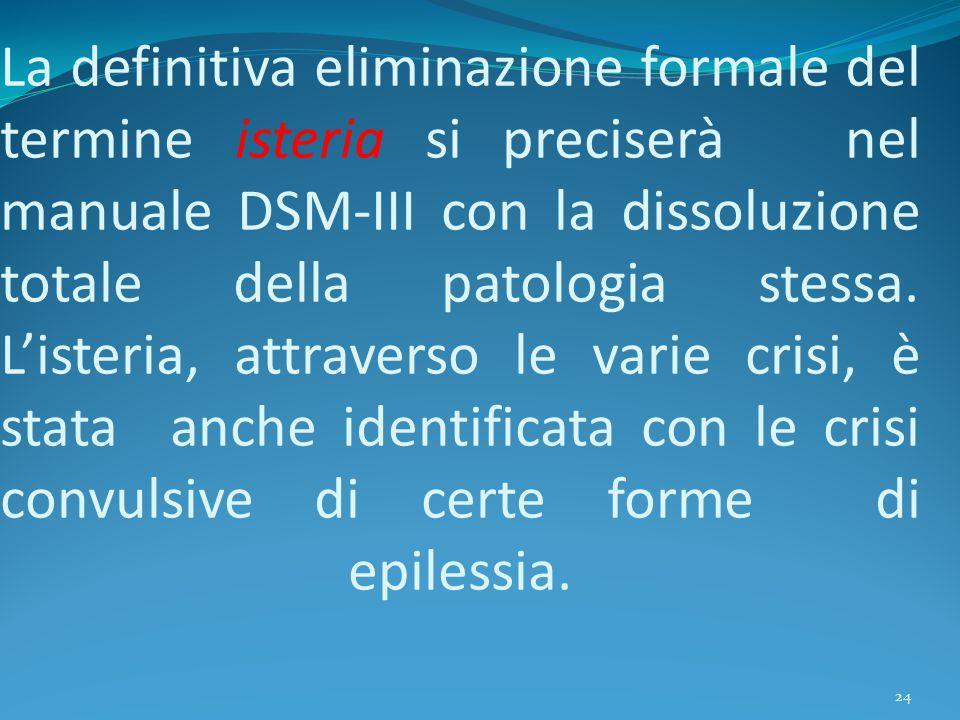 La definitiva eliminazione formale del termine isteria si preciserà nel manuale DSM-III con la dissoluzione totale della patologia stessa.