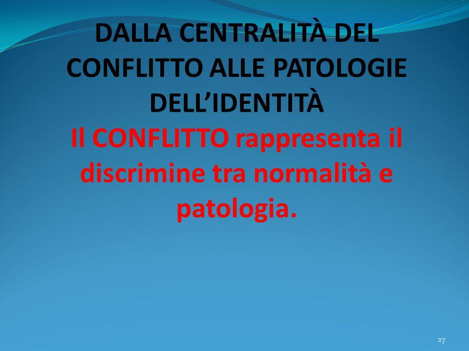 DALLA CENTRALITÀ DEL CONFLITTO ALLE PATOLOGIE DELL'IDENTITÀ Il CONFLITTO rappresenta il discrimine tra normalità e patologia.