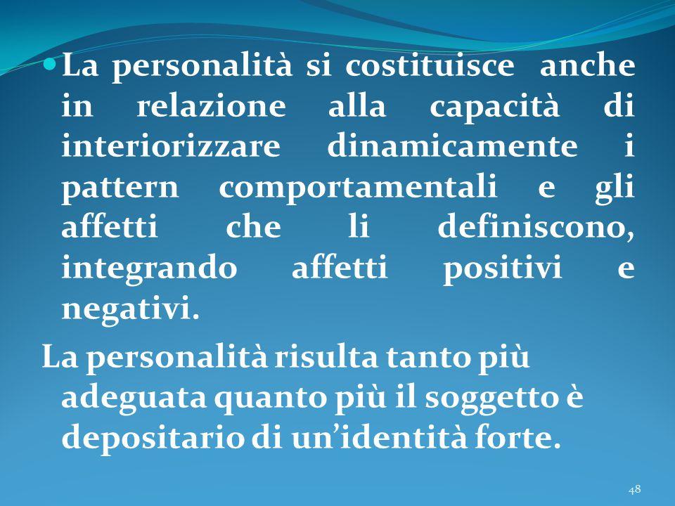 La personalità si costituisce anche in relazione alla capacità di interiorizzare dinamicamente i pattern comportamentali e gli affetti che li definiscono, integrando affetti positivi e negativi.