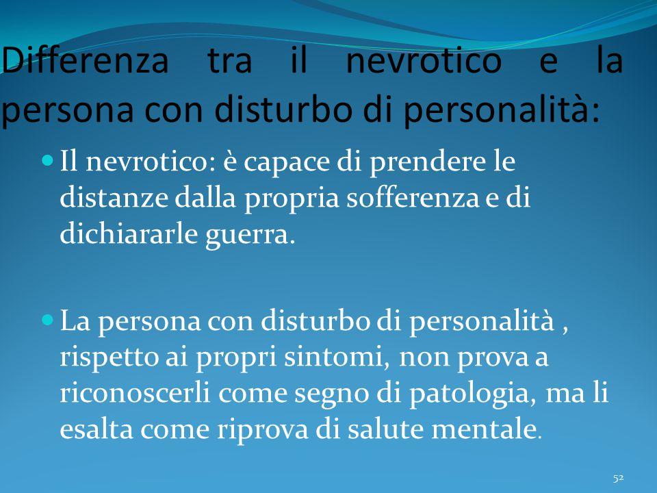 Differenza tra il nevrotico e la persona con disturbo di personalità: