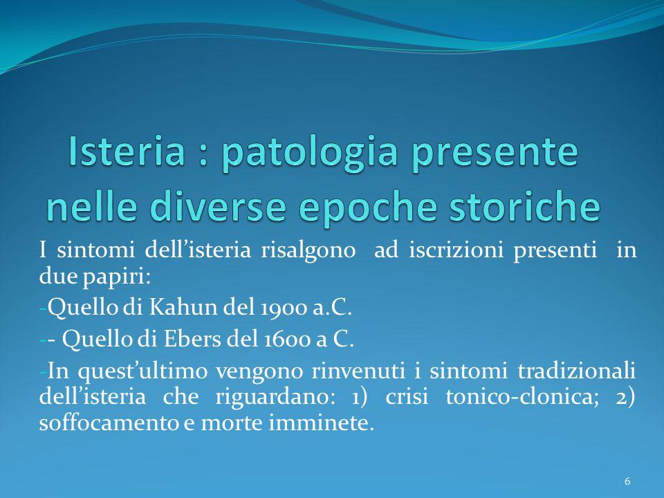 Isteria : patologia presente nelle diverse epoche storiche