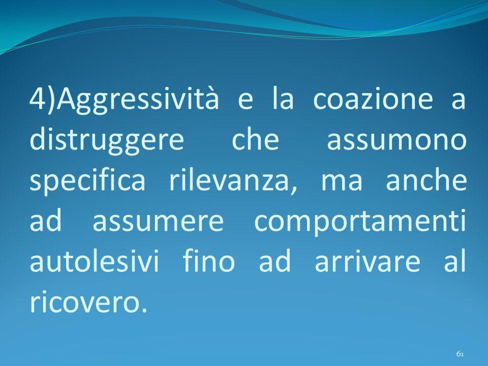 4)Aggressività e la coazione a distruggere che assumono specifica rilevanza, ma anche ad assumere comportamenti autolesivi fino ad arrivare al ricovero.